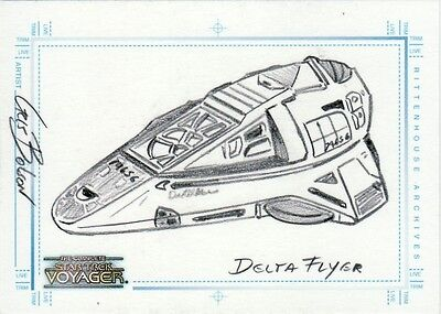 Complete Star Trek Voyager Chris Bolson / Delta Flyer Sketch Card