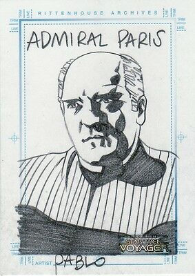 Complete Star Trek Voyager Pablo Raimondi / Admiral Paris Sketch Card