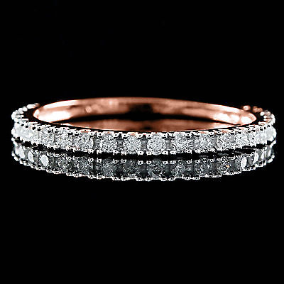 Certified 1/4CT Diamond Wedding Ring 18K Rose Gold Over Round cut Real 1.7mm