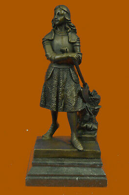 Hand Made Exquisite Detail Joan of Arc Bronze Sculpture by Lost Wax Method