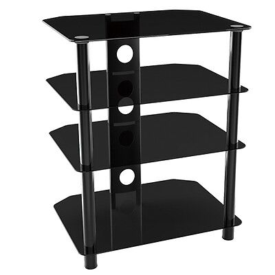 G-VO Black Glass Hifi AV DVD PS3 Wii Xbox Amplifier Speaker Rack Stand - 4 shelf