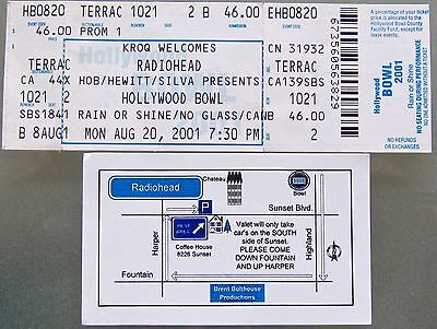 Radiohead Concert Ticket + Invite To Radiohead's Private After Party. 8/20/01.