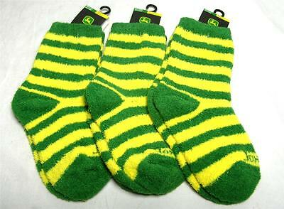 3 Pair John Deere Kid's Striped Fuzzy Socks Shoe Size 9-1.5 Yellow & Green A-14