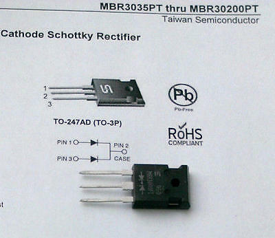 2 Stück MBR30100 Schottky Dioden 30A 100V TSC TO247AD Common Cathode (M1533)