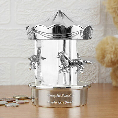 Personalised Carousel Silver Plated Money Box Boys Girls Christening New Baby