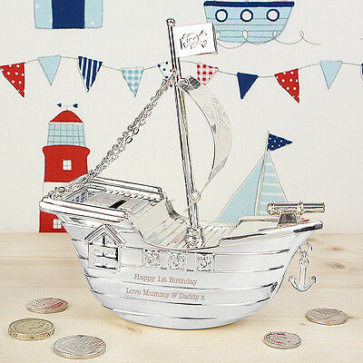 Personalised Silver Plated Pirate Ship Money Box Christening Gifts New Born Baby