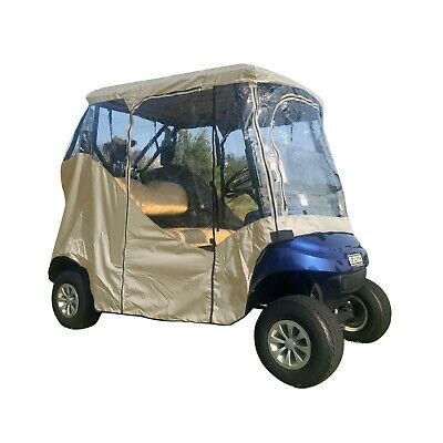 2 Seater Golf Cart Driving Enclosure, Fits E Z GO, Club Car and Yamaha G. Taupe