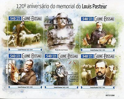 Guinea-Bissau 2015 MNH Louis Pasteur 120th Memorial Anniv 5v M/S Dogs Sheep