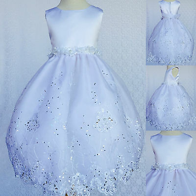 White Baptism Communion Flower Girl Bridesmaid Easter Embroidery Dress Gown #36