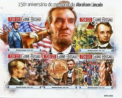 Guinea-Bissau 2015 MNH Abraham Lincoln 150th Memorial Anniv 5v M/S Civil War