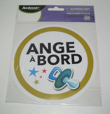 Disque Adhesif Autocollant Stickers Ange A Bord Diametre 150 Mm Neuf