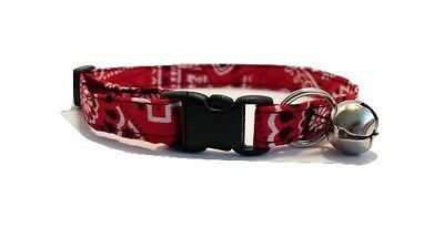 Red Bandana Cat or kitten Collar Valentines Day soft bell country western cowboy