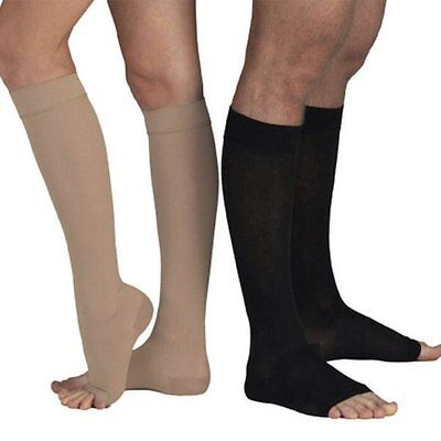 Solid Color Open Toe Knee High Compression Socks Leg Fatigue Relief Stockings