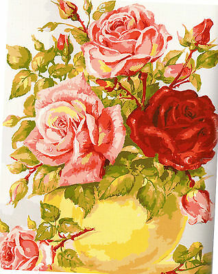 PRETTY BOWL OF  FULL BLOWN ROSES & BUDS tapestry canvas to stitch.50X60CM