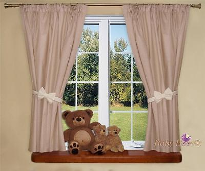 Nursery Curtains with Decorative Bows For Baby Room's 62x62inch - Cream/Beige