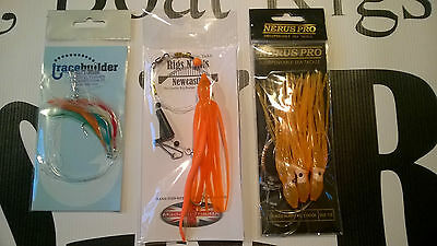 Sea fishing Boat Rigs x 3 Muppet and Sandeel rig, 3 HK rig, feathers - Cod, Ling