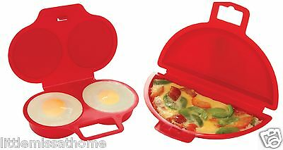Microwave Omelette Maker & 2 Egg Poacher ( Red Egg Cooker Cooking Poaching Set )