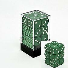 Opaque 16mm d6 Green w/White Dice Block 12 pipped dice CHX 25605