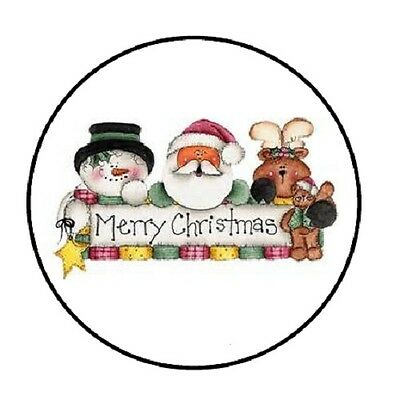 """48 Merry Christmas #3 !!!  ENVELOPE SEALS LABELS STICKERS 1.2"""" ROUND"""
