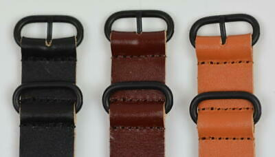 Leather Nato G10 Replacement Watch Band Strap Black PVD Buckle Army Zulu 18-24mm