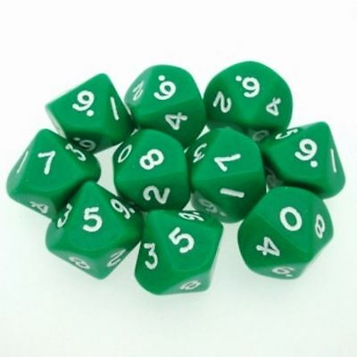 Chessex Dice Sets Lustrous Green W// Gold Ten Sided Die d10 Set 10 CHX 27295