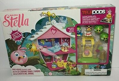 Angry Birds Stella Telepods Tree House Playset Game Bird Figures, Piggy Figures