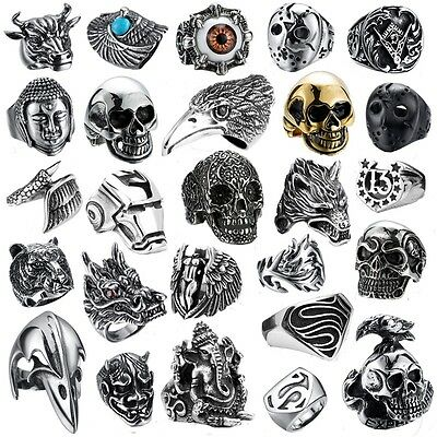 316L Stainless steel steam men punk ring gothic rings skull cool Men's Jewelry