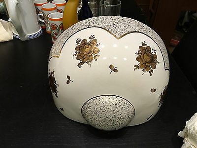 Stunning Gilt Gold/White Porcelain Wall Planter Large Near Flawless.