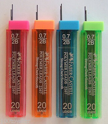 80x  Leads 2B, Faber-Castell Mechanical Pencil Refill Polymer Lead 0.7mm