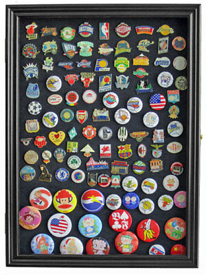 Lapel Pin patches Medal Display Case Cabinet Shadow Box, PC01-BLA