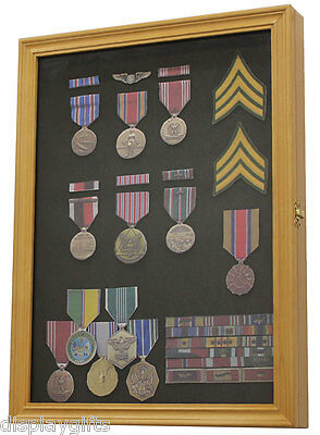 Pin Button Medal Display Case Wall Cabinet  Shadow Box, Solid Wood PC01-OA