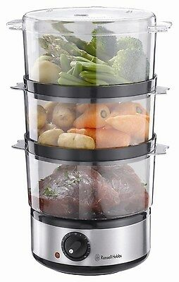 3 Three Tier Food Steamer Cooker New Electric Vegetable Compact Kitchen Large 7