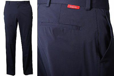 Dwyers & Co Men's Tech Flat Front Chino Golf Trousers - NAVY & Black