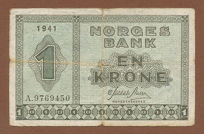 Norway, 1 Krone 1941 (A 9769450)  P-15a  aFine