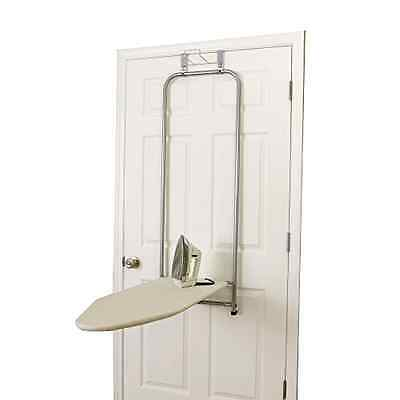 Over-The-Door Ironing Board Table Self Closing Satin Silver Household Essentials