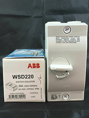 ABB Switch Isolator Weatherproof WSD220 2 Pole 20A IP66 20 amp on off