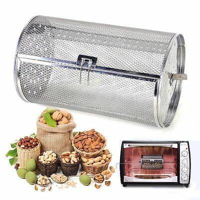 Silver Drum Oven Roaster Coffee Beans Peanut Basket BBQ Grill Rotisserie Grill I