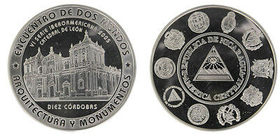 Nicaragua 10 Cordobas, 27g .925 Silver Coin, 2005, KM# 106, Mint, Architecture