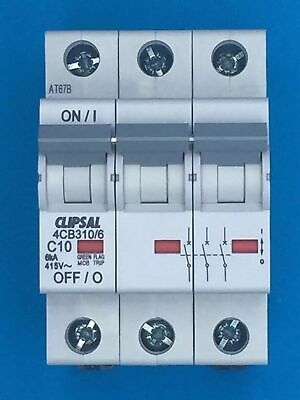 Genuine CLIPSAL 4CB310/6 Miniature Circuit Breaker 3 Pole 10A 6kA C10 C-curve