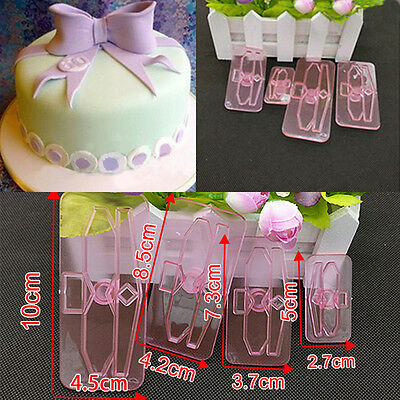 4Pcs Bows Icing Cake Cupcake Decorating Mold Embosser Cutter Mould Sugar NEW