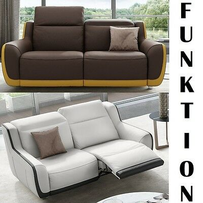 Relax Leder Sofa Garnitur TV-Sessel Couch Garnitur Wohnlandschaft 2 ...