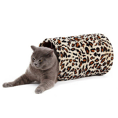 Pet Cat Tunnel Toy Leopard Print Kitten Collapsible Cat Fun Mini Tunnel Tent Toy