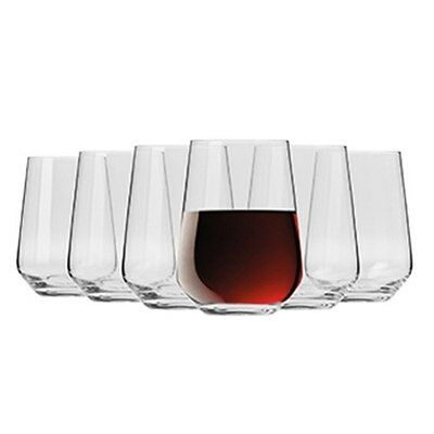 New Krosno Flair Stemless Red Wine Glass 550ml Set Of 6 Gift Boxed