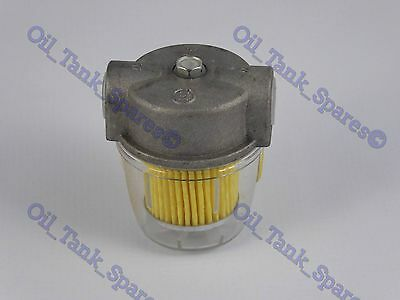 "3/8"" BSP Heating Oil Filter c/w Paper Filter Element 15 Micron and Plastic Bowl"