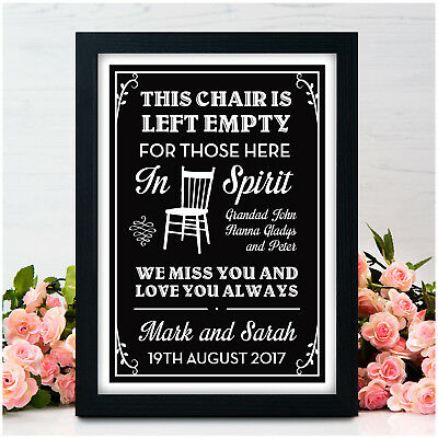 In Loving Memory Memorial Remembrance PERSONALISED Wedding Sign Chalkboard