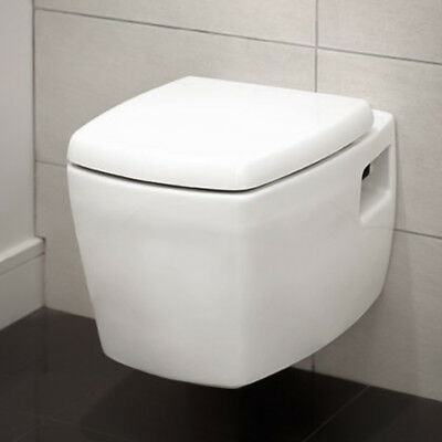 Round Wall Hung Compact Toilet - Soft Close Seat ; White Ceramic ; Bathroom WC
