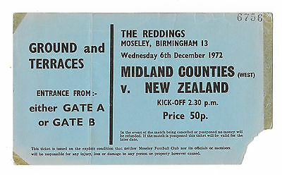 1972 - Midlands Counties (West) v New Zealand, Touring Match Ticket.