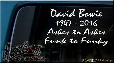 Rip David Bowie In Memory Of Vinyl Decal Sticker Rock And Roll Ashes To Ashes
