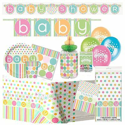PASTEL BABY- Party Shower,Decorations,Games Pink Blue Unisex Boy Girl Dot suppli