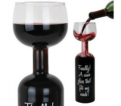 Wine Bottle Glass Holds 750ml Novelty Wine Bottle With Glass on top